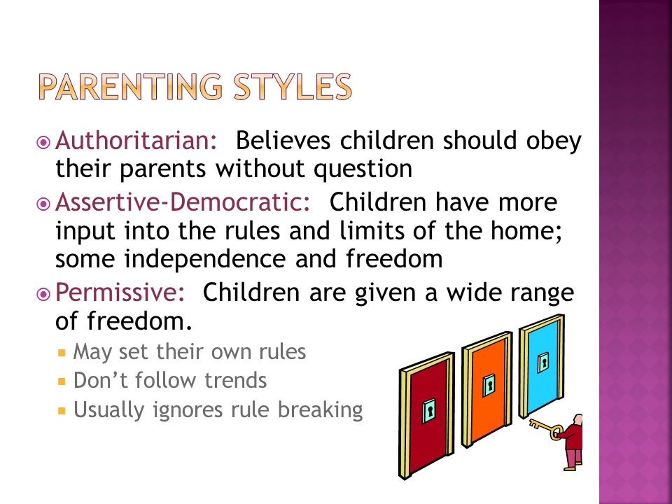  Authoritarian: Believes children should obey their parents without question  Assertive-Democratic: Children have more input into the rules and limi