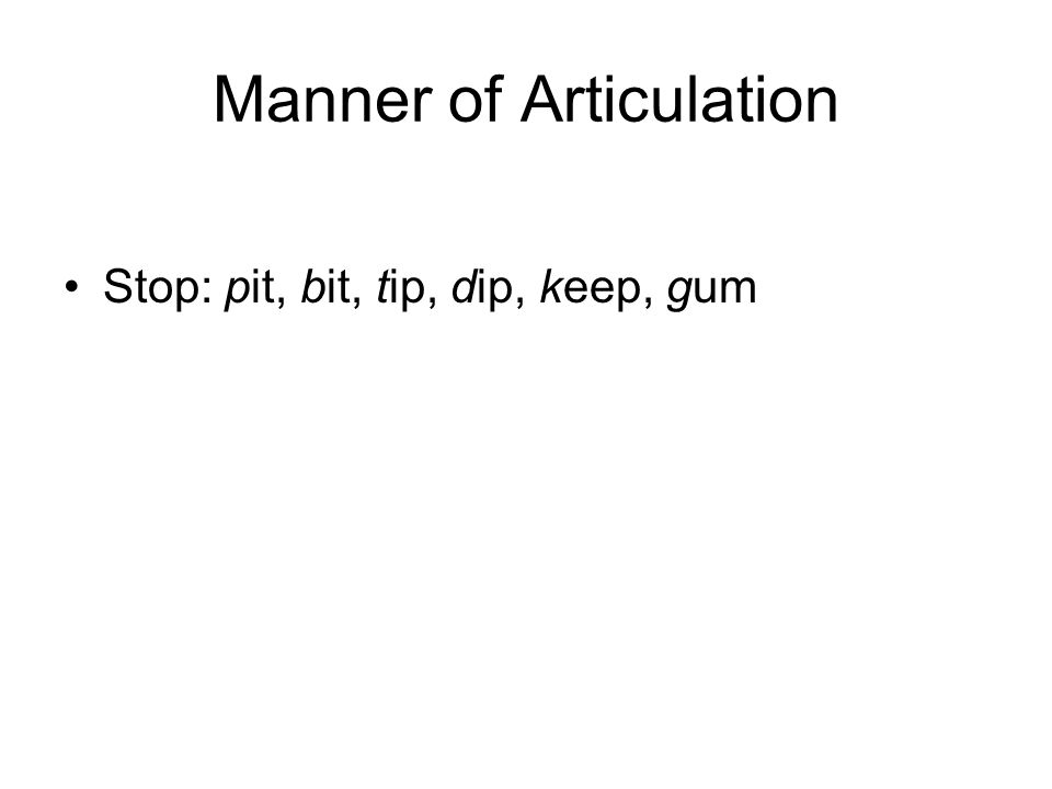 Manner of Articulation Stop: pit, bit, tip, dip, keep, gum