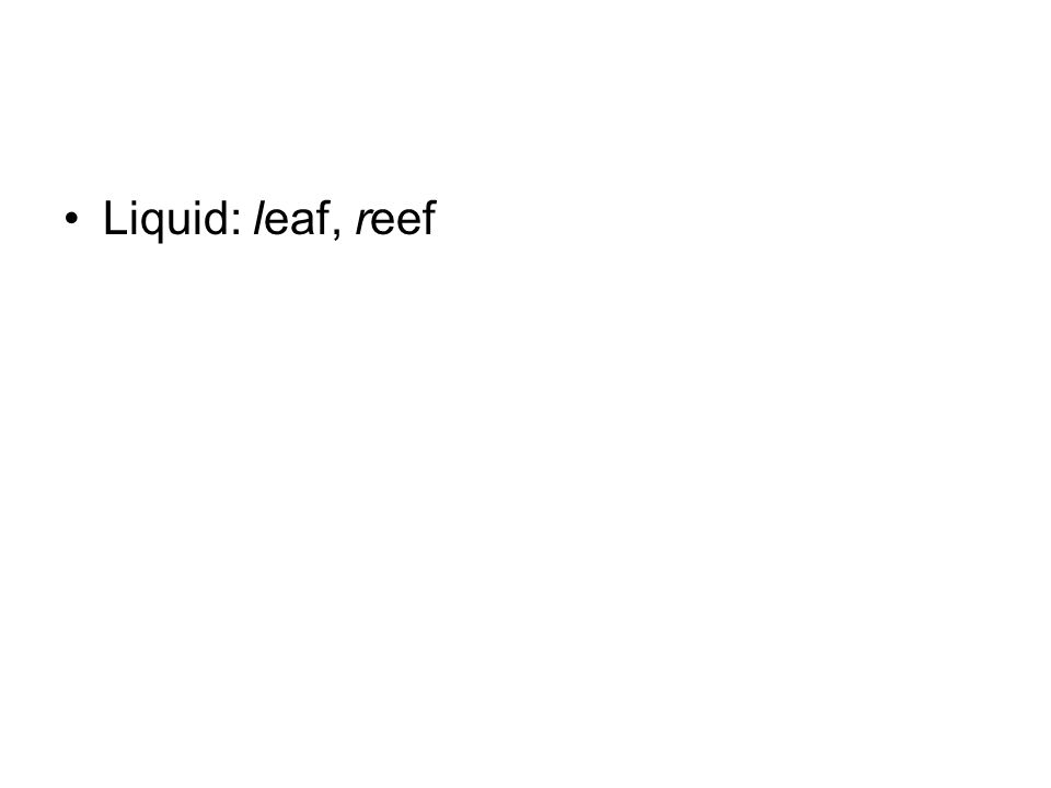 Liquid: leaf, reef