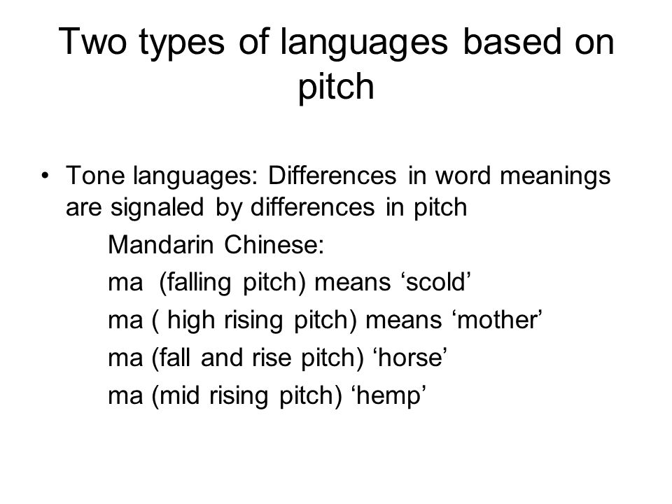 Two types of languages based on pitch Tone languages: Differences in word meanings are signaled by differences in pitch Mandarin Chinese: ma (falling pitch) means 'scold' ma ( high rising pitch) means 'mother' ma (fall and rise pitch) 'horse' ma (mid rising pitch) 'hemp'