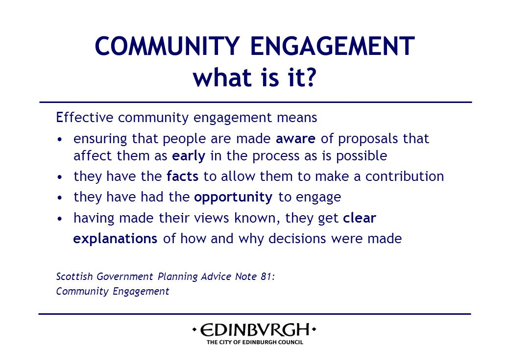 THE PLANNING PROCESS role of community council 1 Legitimate public interest in planning extends beyond those most directly affected by a proposal to a wider community of interest.