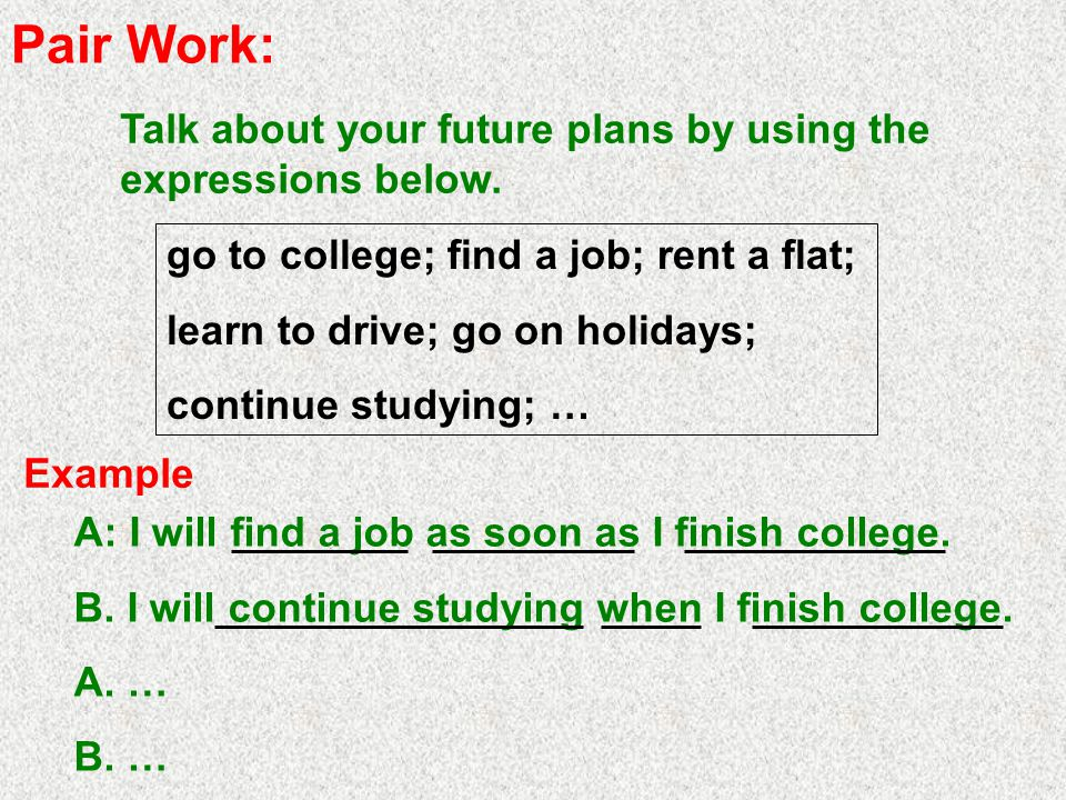 Pair Work: Talk about your future plans by using the expressions below.