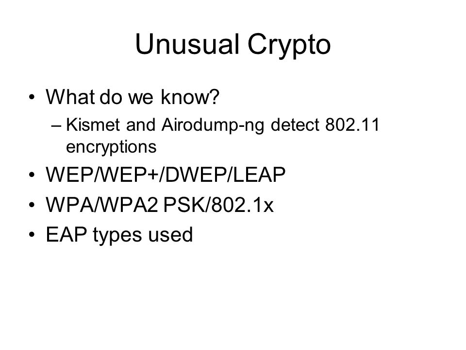 Unusual Crypto What do we know.
