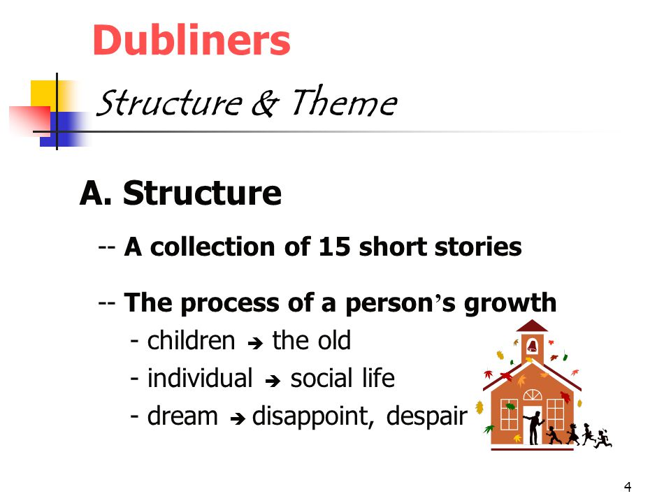 4 Dubliners Structure & Theme A. Structure -- A collection of 15 short stories -- The process of a person ' s growth - children  the old - individual