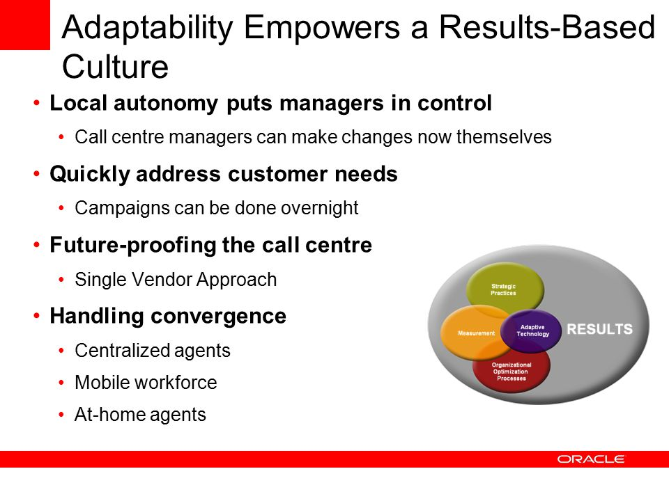 Adaptability Empowers a Results-Based Culture Local autonomy puts managers in control Call centre managers can make changes now themselves Quickly address customer needs Campaigns can be done overnight Future-proofing the call centre Single Vendor Approach Handling convergence Centralized agents Mobile workforce At-home agents