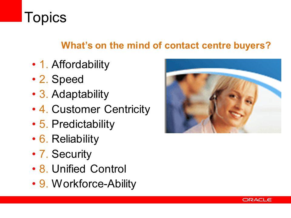 Topics 1.Affordability 2. Speed 3. Adaptability 4.