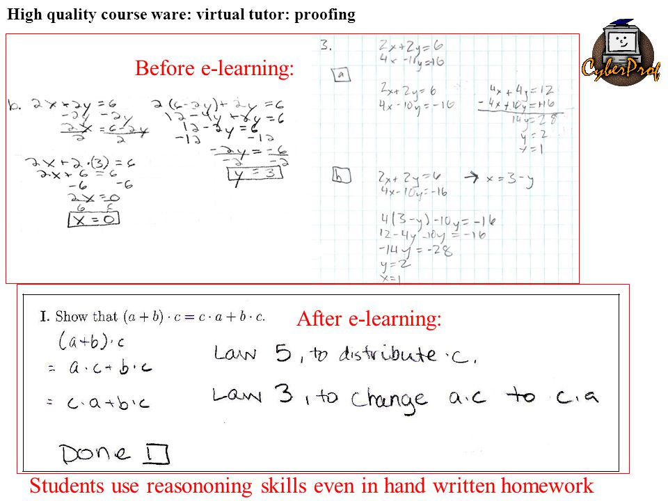 High quality course ware: virtual tutor: proofing Before e-learning: After e-learning: Students use reasononing skills even in hand written homework