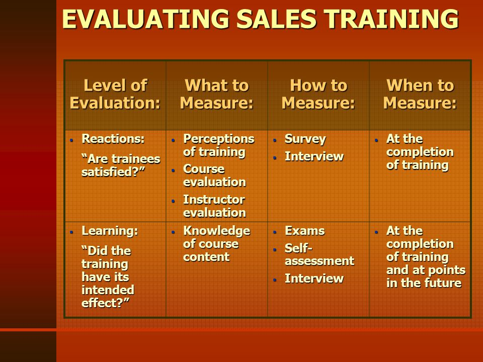 EVALUATING SALES TRAINING Level of Evaluation: What to Measure: How to Measure: When to Measure:  Reactions: Are trainees satisfied  Perceptions of training  Course evaluation  Instructor evaluation  Survey  Interview  At the completion of training  Learning: Did the training have its intended effect  Knowledge of course content  Exams  Self- assessment  Interview  At the completion of training and at points in the future