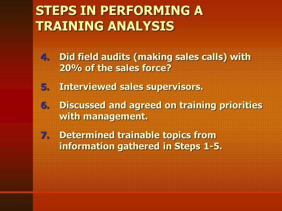 4.Did field audits (making sales calls) with 20% of the sales force.