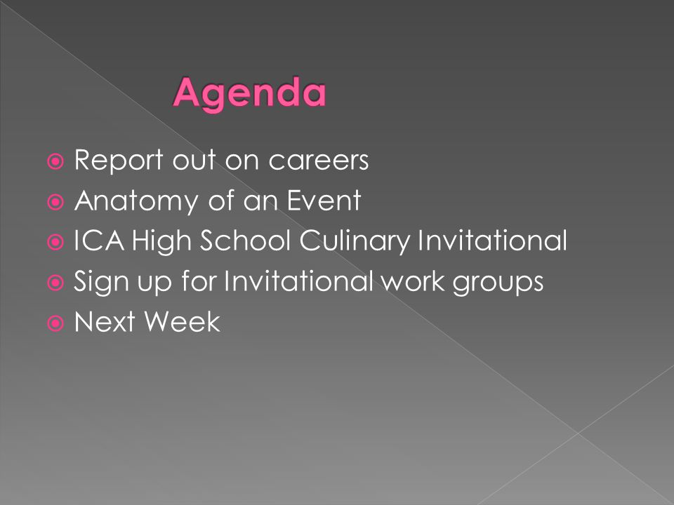  Report out on careers  Anatomy of an Event  ICA High School Culinary Invitational  Sign up for Invitational work groups  Next Week