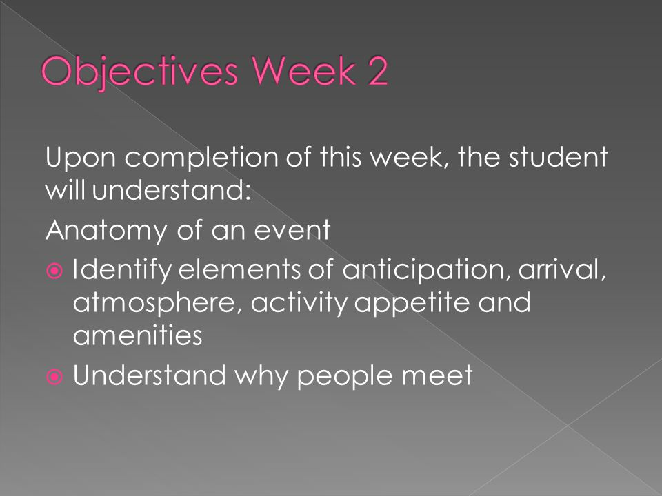 Upon completion of this week, the student will understand: Anatomy of an event  Identify elements of anticipation, arrival, atmosphere, activity appe