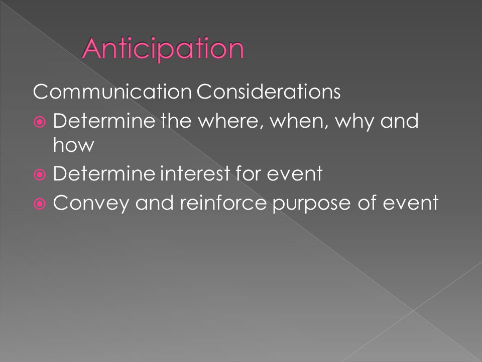 Communication Considerations  Determine the where, when, why and how  Determine interest for event  Convey and reinforce purpose of event