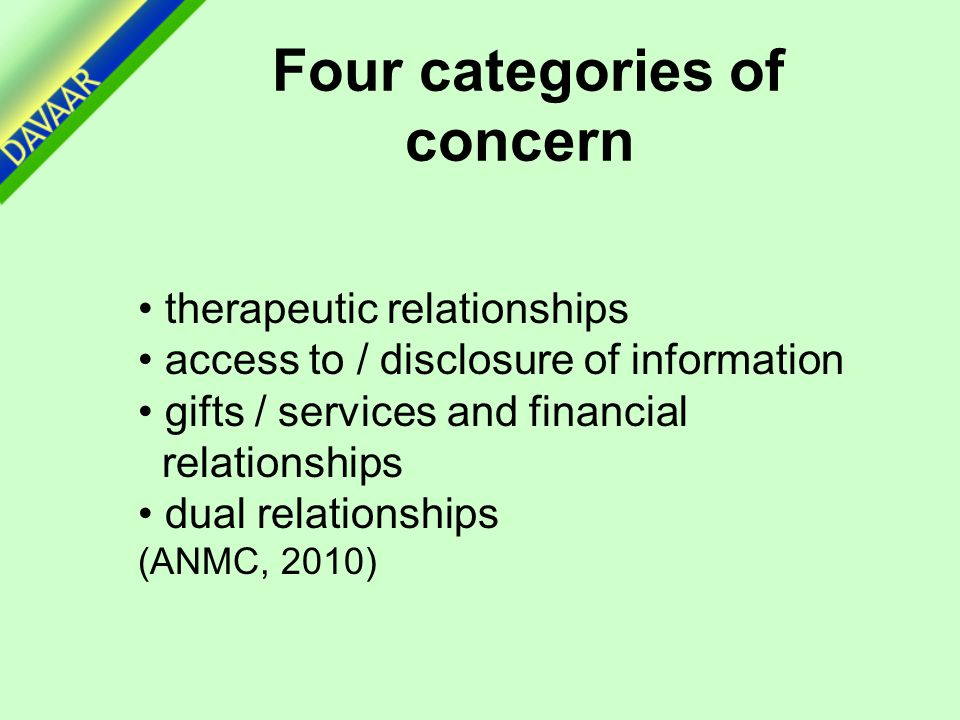therapeutic relationships access to / disclosure of information gifts / services and financial relationships dual relationships (ANMC, 2010) Four categories of concern