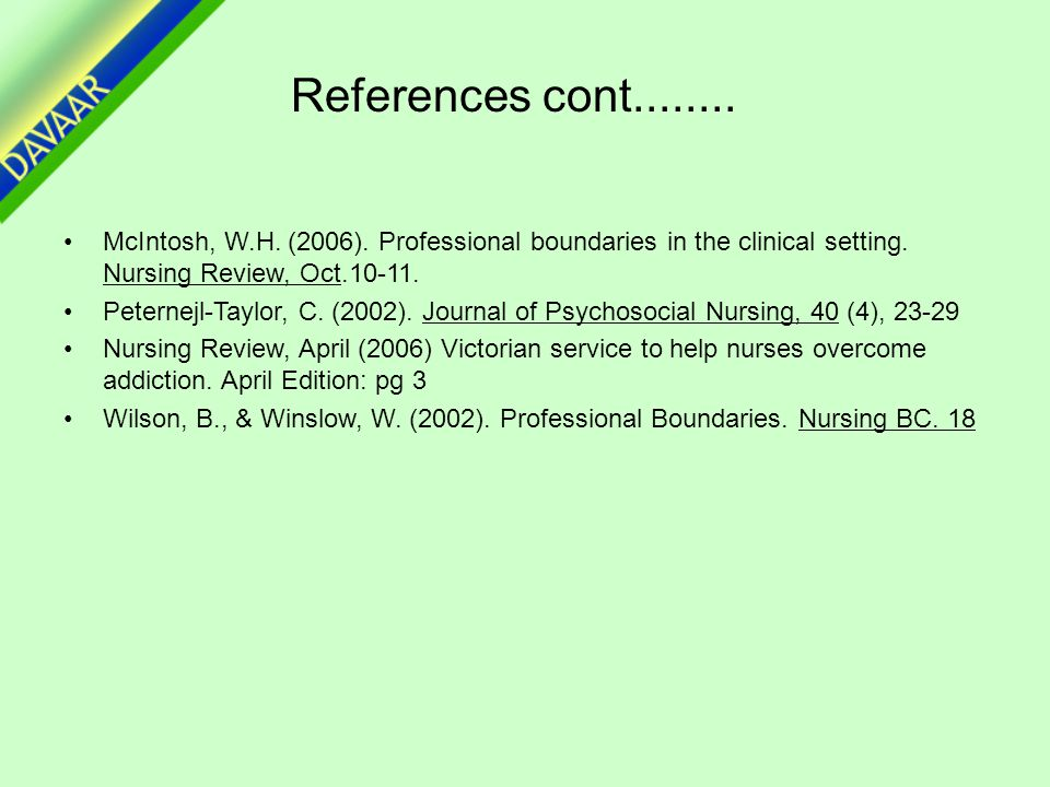References cont........ McIntosh, W.H. (2006). Professional boundaries in the clinical setting.