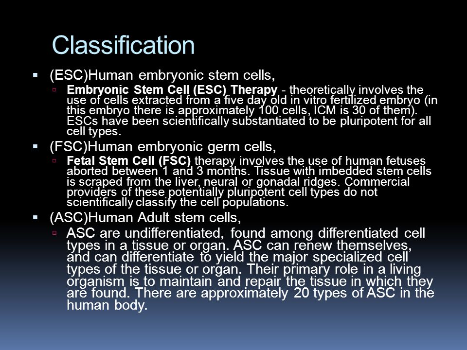 Classification  (ESC)Human embryonic stem cells,  Embryonic Stem Cell (ESC) Therapy - theoretically involves the use of cells extracted from a five day old in vitro fertilized embryo (in this embryo there is approximately 100 cells, ICM is 30 of them).