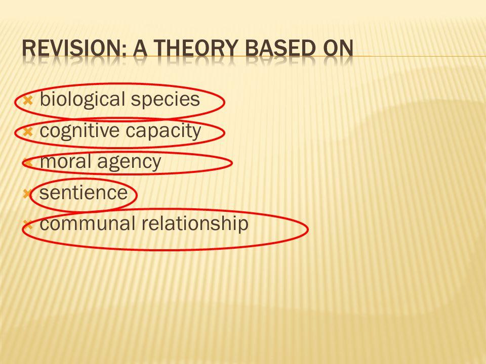  biological species  cognitive capacity  moral agency  sentience  communal relationship