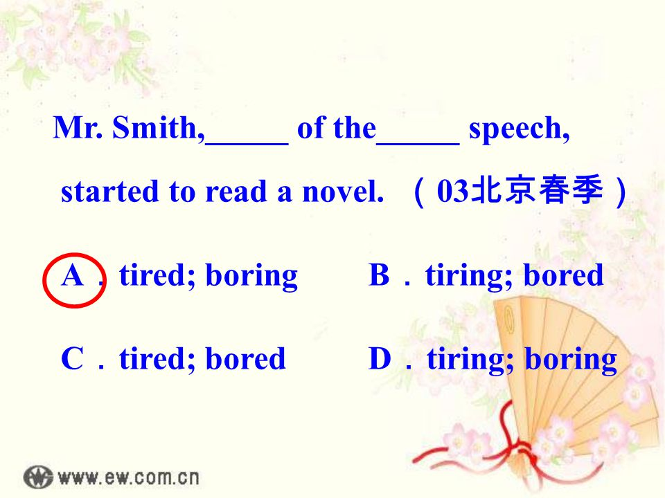 Mr. Smith,_____ of the_____ speech, started to read a novel.