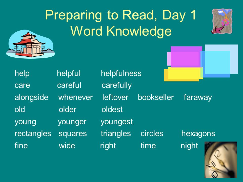 Preparing to Read, Day 1 Word Knowledge help helpful helpfulness care careful carefully alongside whenever leftover bookseller faraway old older oldes