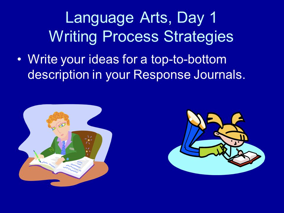 Language Arts, Day 1 Writing Process Strategies Write your ideas for a top-to-bottom description in your Response Journals.