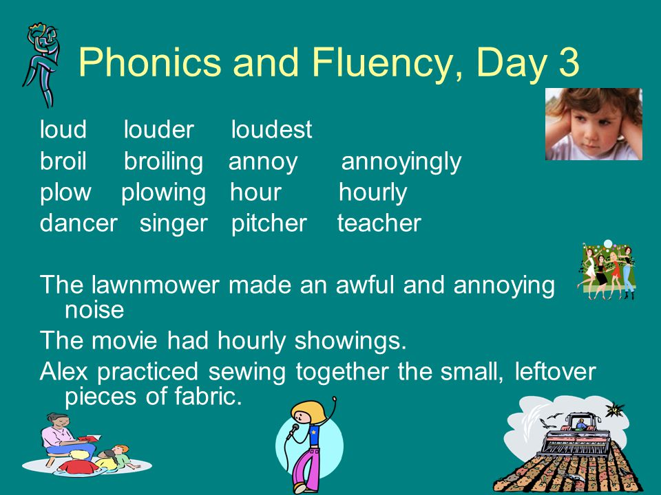 Phonics and Fluency, Day 3 loud louder loudest broil broiling annoy annoyingly plow plowing hour hourly dancer singer pitcher teacher The lawnmower ma
