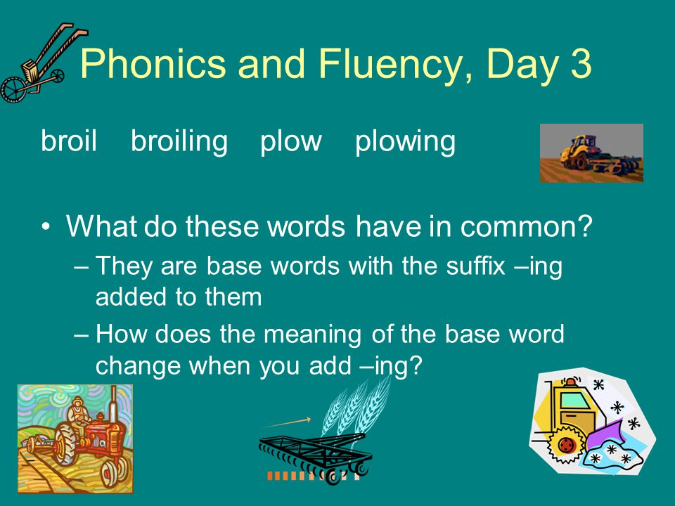 Phonics and Fluency, Day 3 broil broiling plow plowing What do these words have in common? –They are base words with the suffix –ing added to them –Ho