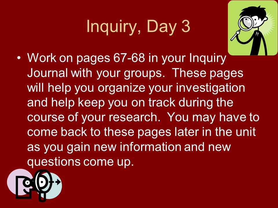 Inquiry, Day 3 Work on pages 67-68 in your Inquiry Journal with your groups. These pages will help you organize your investigation and help keep you o