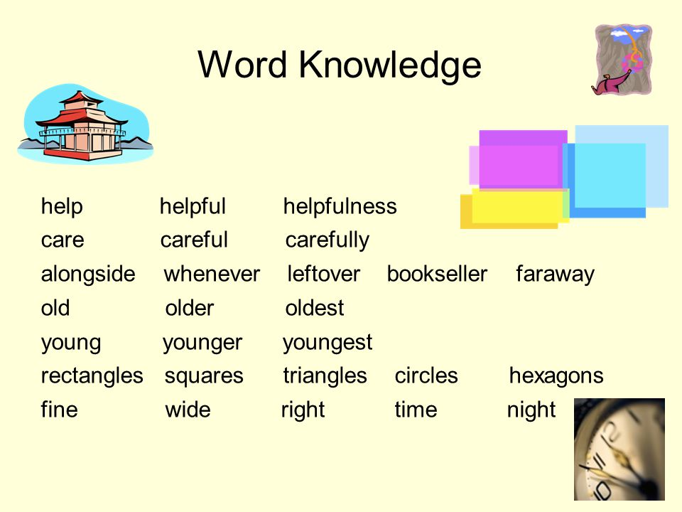 Word Knowledge help helpful helpfulness care careful carefully alongside whenever leftover bookseller faraway old older oldest young younger youngest