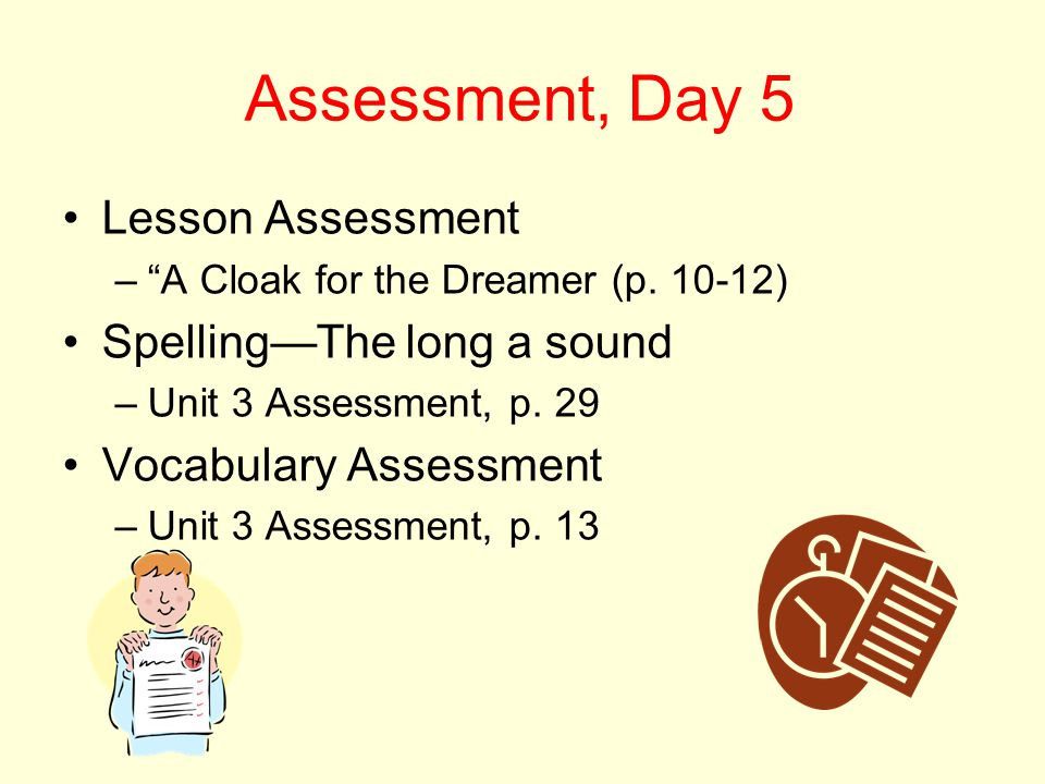 "Assessment, Day 5 Lesson Assessment –""A Cloak for the Dreamer (p. 10-12) Spelling—The long a sound –Unit 3 Assessment, p. 29 Vocabulary Assessment –Un"