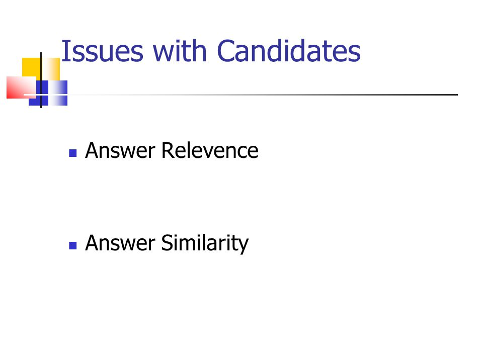 Issues with Candidates Answer Relevence Answer Similarity
