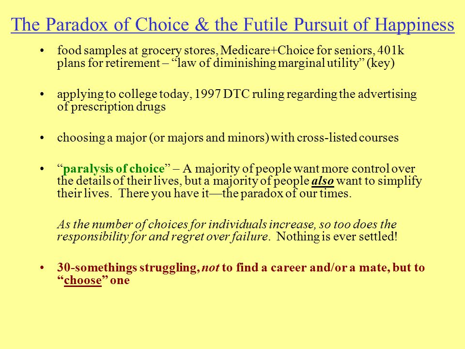 "The Paradox of Choice & the Futile Pursuit of Happiness food samples at grocery stores, Medicare+Choice for seniors, 401k plans for retirement – ""law"