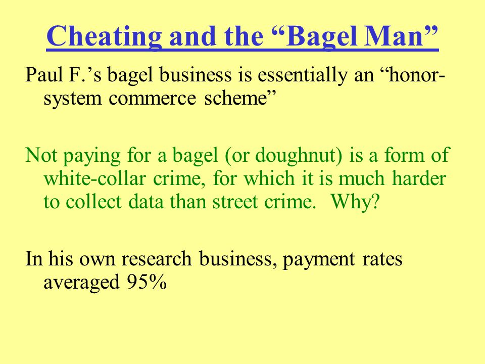 What the Bagel Man Saw Payment rate among all of his clients is approximately 87-89% 87% before 9/11 (89% after; 15% reduction in theft) What has Paul F.