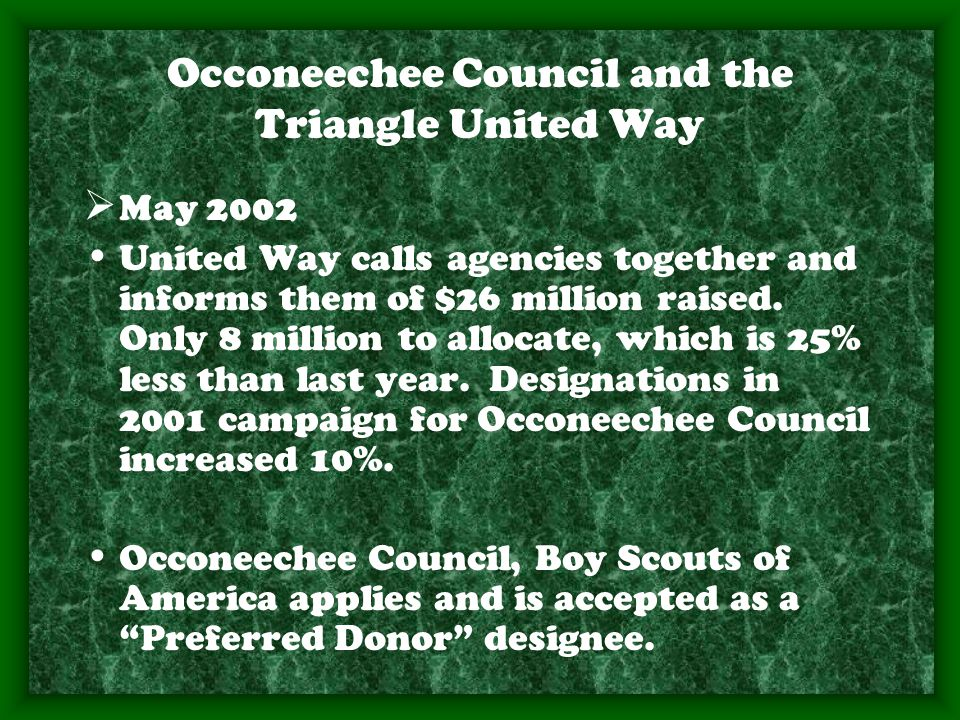Occoneechee Council and the Triangle United Way  May 2002 United Way calls agencies together and informs them of $26 million raised.