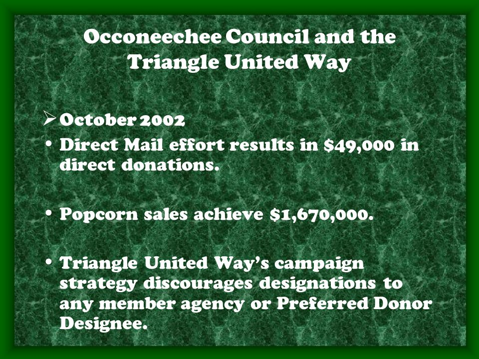 Occoneechee Council and the Triangle United Way  October 2002 Direct Mail effort results in $49,000 in direct donations.