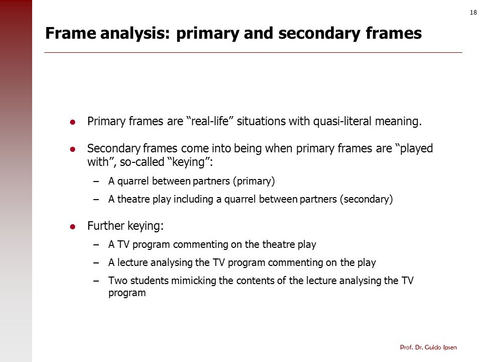 "Prof. Dr. Guido Ipsen 18 Frame analysis: primary and secondary frames Primary frames are ""real-life"" situations with quasi-literal meaning. Secondary"