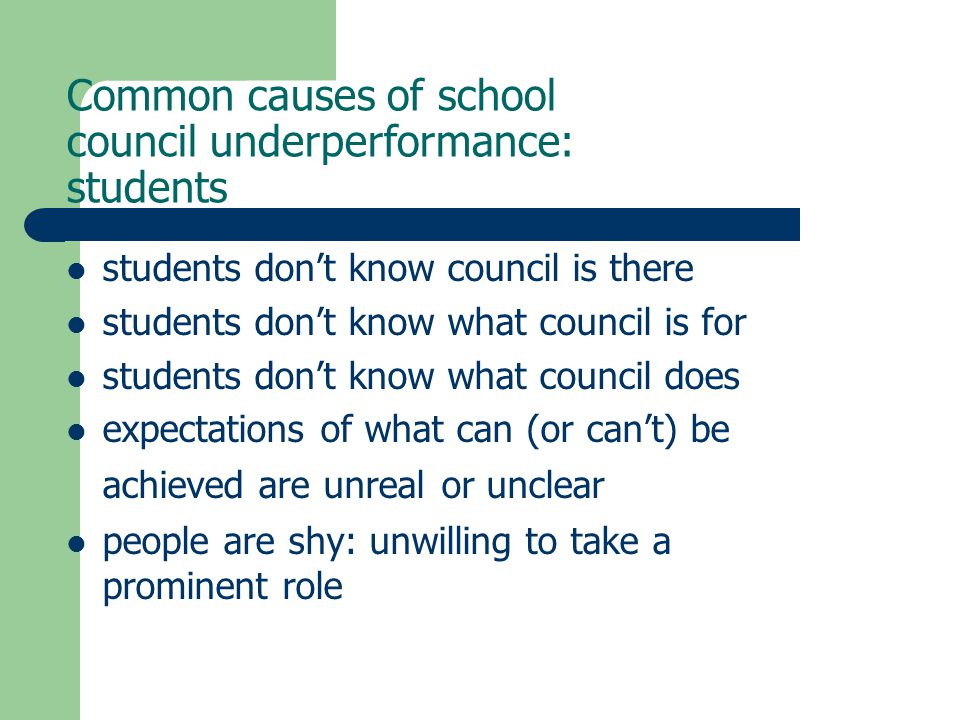Common causes of school council underperformance: students students don't know council is there students don't know what council is for students don't know what council does expectations of what can (or can't) be achieved are unreal or unclear people are shy: unwilling to take a prominent role