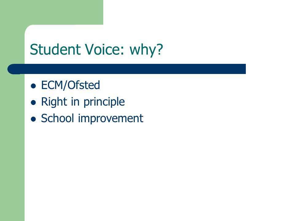 Student Voice: why? ECM/Ofsted Right in principle School improvement