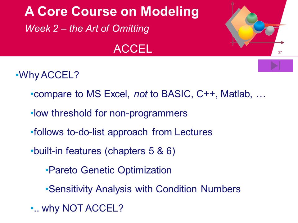 37 A Core Course on Modeling ACCEL Why ACCEL.