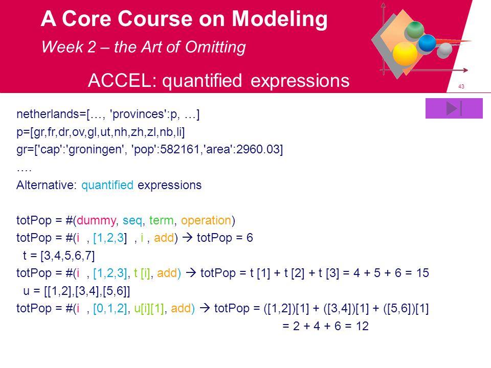 43 A Core Course on Modeling ACCEL: quantified expressions netherlands=[…, 'provinces':p, …] p=[gr,fr,dr,ov,gl,ut,nh,zh,zl,nb,li] gr=['cap':'groningen