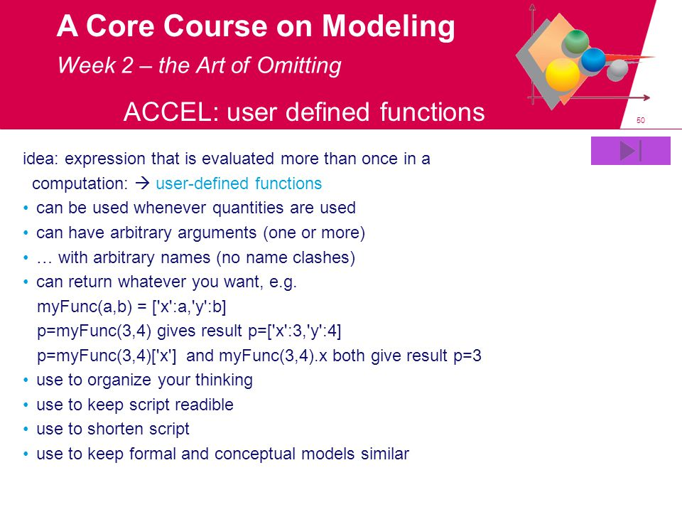 50 A Core Course on Modeling idea: expression that is evaluated more than once in a computation:  user-defined functions can be used whenever quantities are used can have arbitrary arguments (one or more) … with arbitrary names (no name clashes) can return whatever you want, e.g.