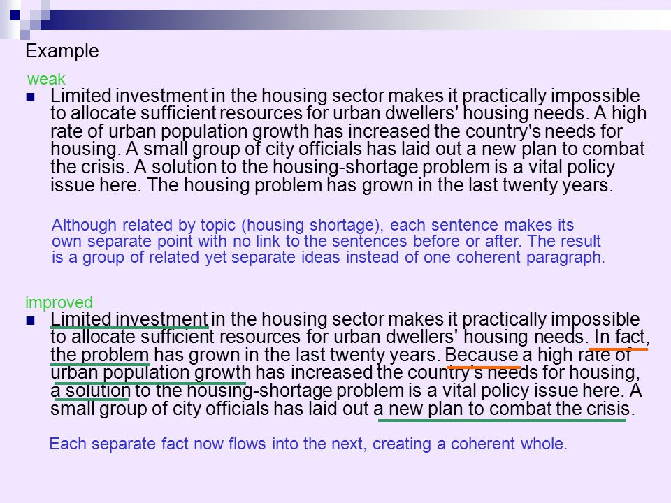 Example Limited investment in the housing sector makes it practically impossible to allocate sufficient resources for urban dwellers' housing needs. A