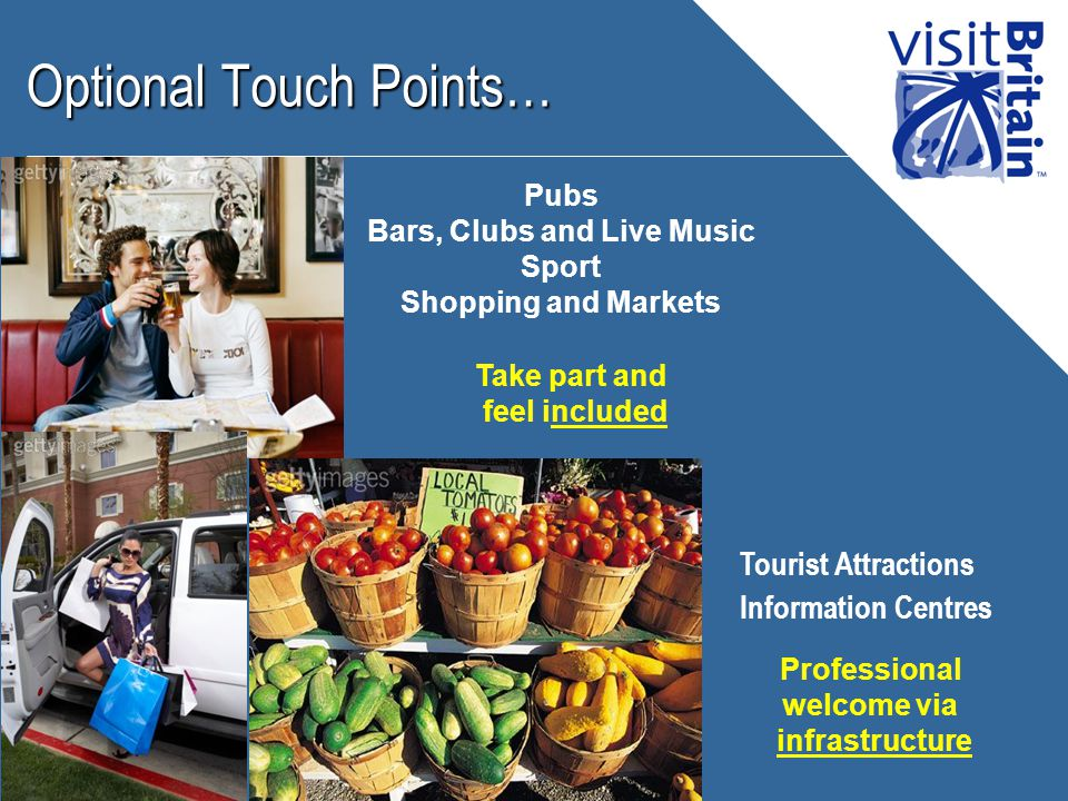 Optional Touch Points… Pubs Bars, Clubs and Live Music Sport Shopping and Markets Take part and feel included Professional welcome via infrastructure Tourist Attractions Information Centres