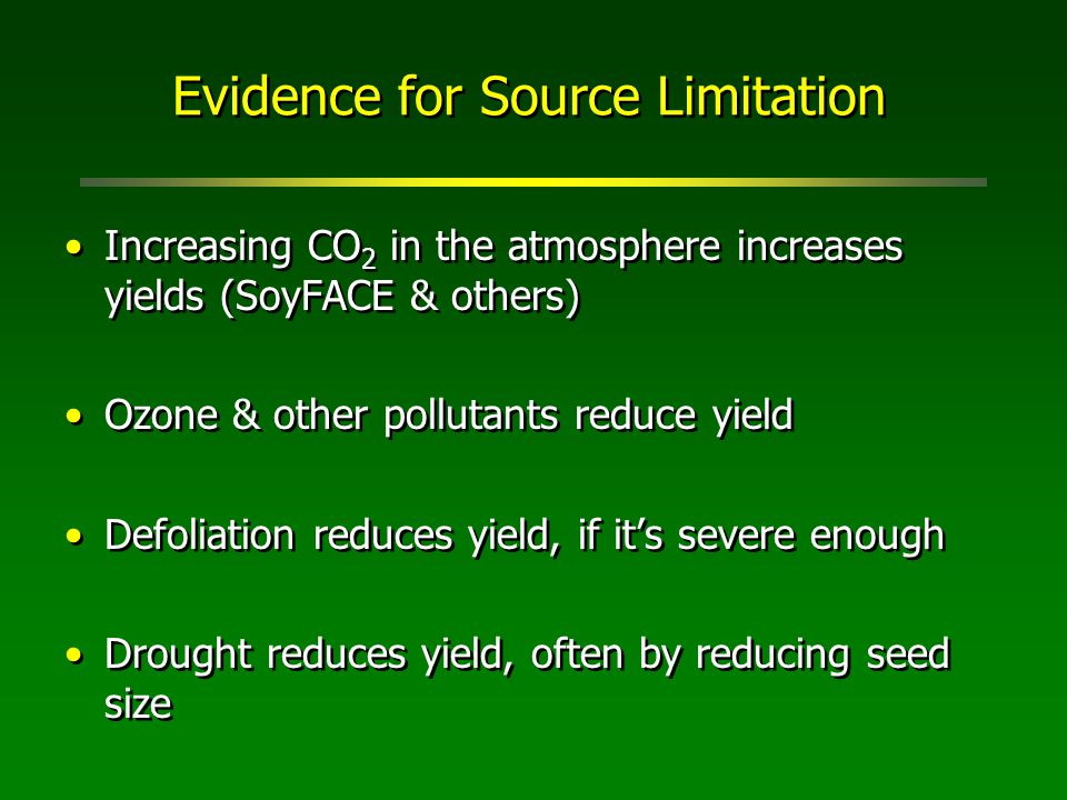 Evidence for Source Limitation Increasing CO 2 in the atmosphere increases yields (SoyFACE & others) Ozone & other pollutants reduce yield Defoliation reduces yield, if it's severe enough Drought reduces yield, often by reducing seed size Increasing CO 2 in the atmosphere increases yields (SoyFACE & others) Ozone & other pollutants reduce yield Defoliation reduces yield, if it's severe enough Drought reduces yield, often by reducing seed size