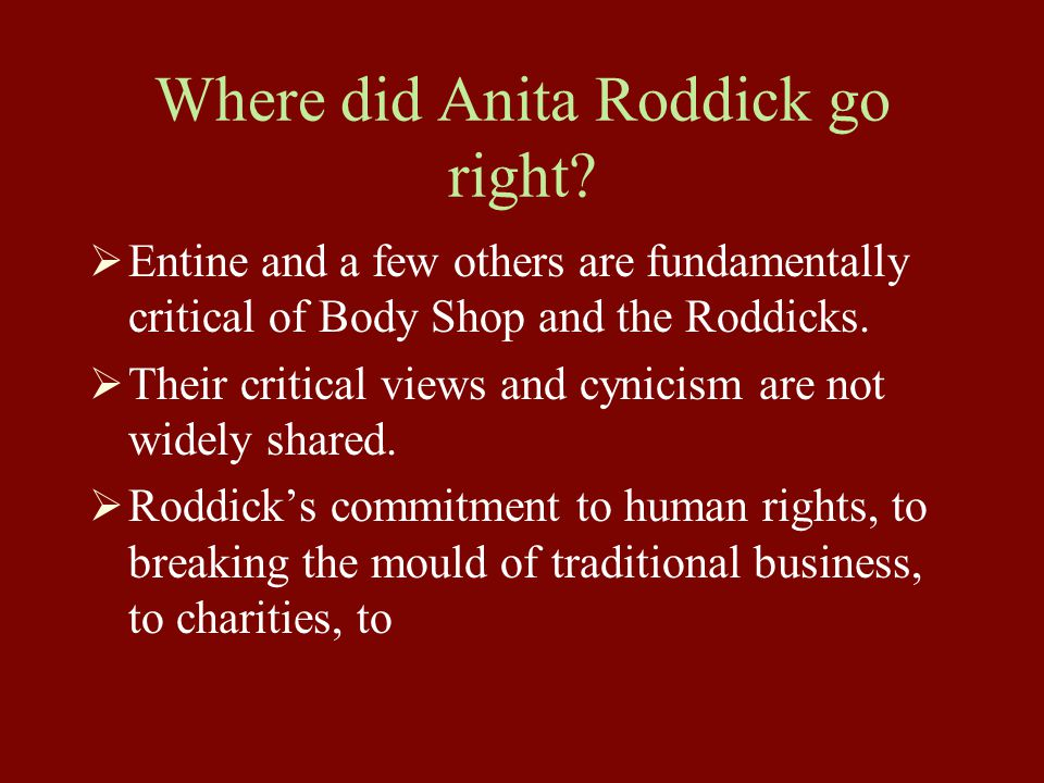 Where did Anita Roddick go right.