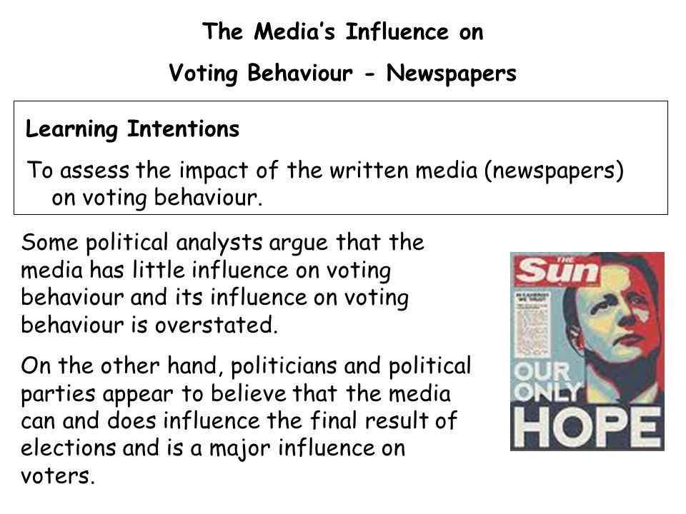 The Media's Influence on Voting Behaviour - Newspapers Some political analysts argue that the media has little influence on voting behaviour and its influence on voting behaviour is overstated.