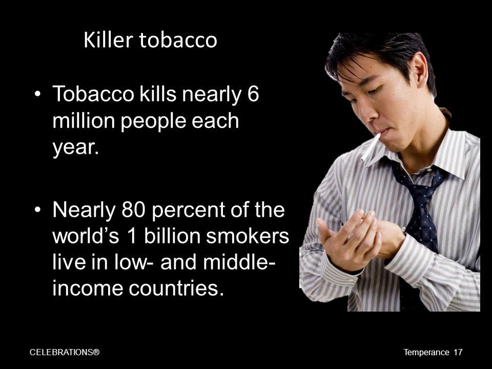 Killer tobacco Tobacco kills nearly 6 million people each year.