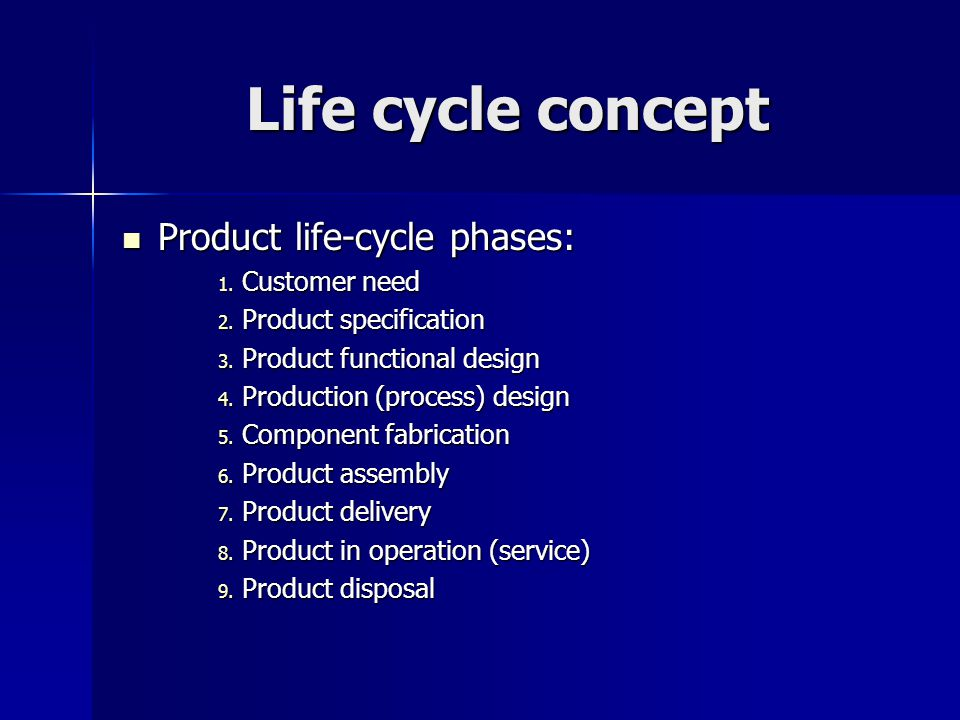 Life cycle concept Product life-cycle phases: Product life-cycle phases: 1.