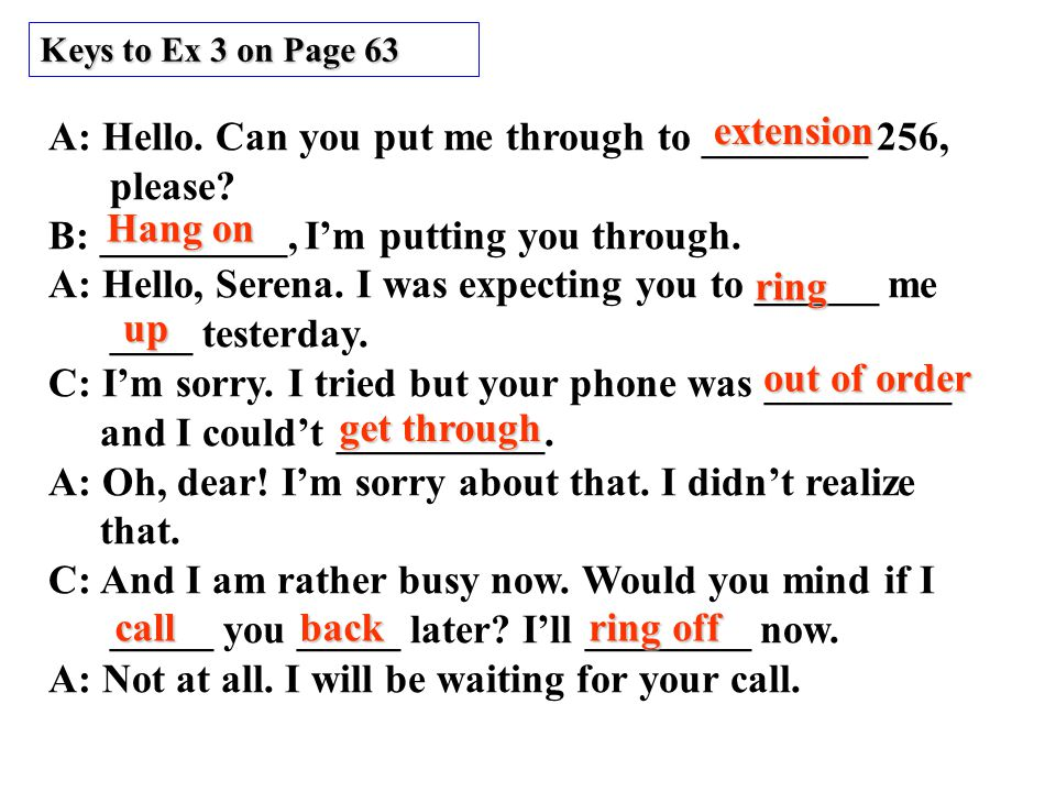 Keys to Ex 3 on Page 63 A: Hello. Can you put me through to ________ 256, please.