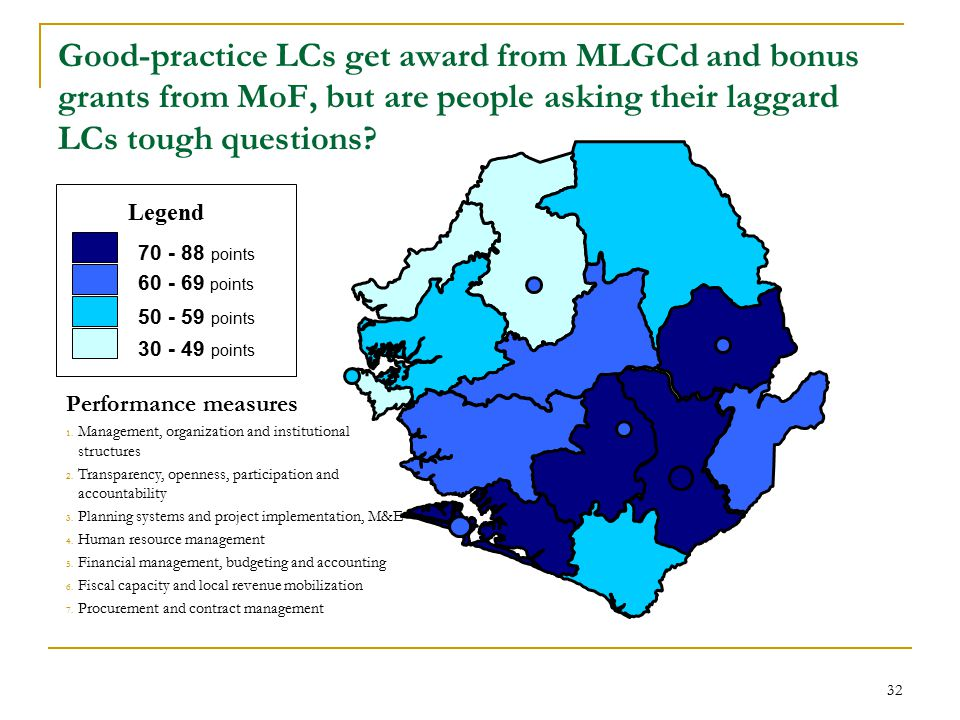 32 Good-practice LCs get award from MLGCd and bonus grants from MoF, but are people asking their laggard LCs tough questions.