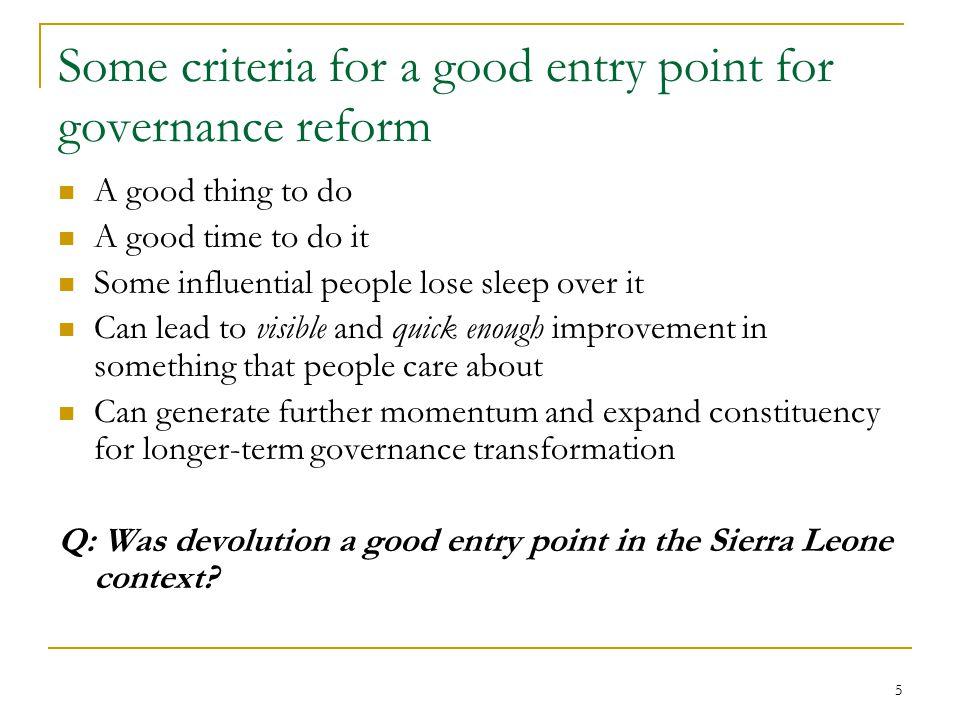 26 LCs adopting good governance practices, many not yet adopted by ministries Source: Comprehensive Local Government Performance Assessment (Nov 2006) Legend 70 - 88 points 60 - 69 points 50 - 59 points 30 - 49 points Performance measures 1.