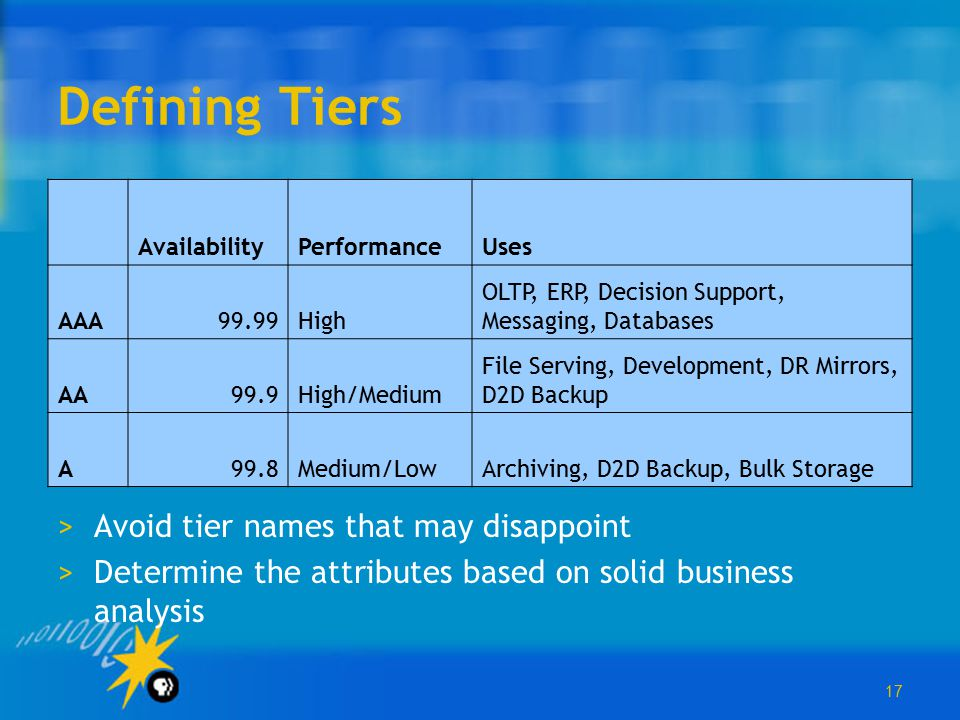 17 Defining Tiers >Avoid tier names that may disappoint >Determine the attributes based on solid business analysis AvailabilityPerformanceUses AAA99.9